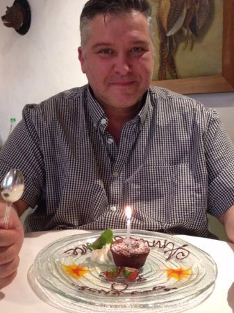 Sugiez, Швейцария: Wish they had told me about my birthday surprise BEFORE I ate my entree, meal and dessert!