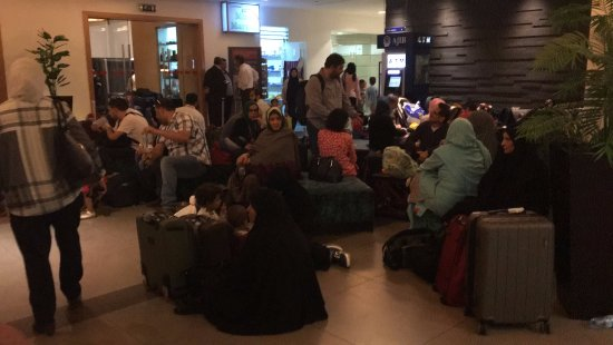 Amman Airport Hotel: The hotel and bar is always full of people waiting, making lines and sleeping; no place to sit d