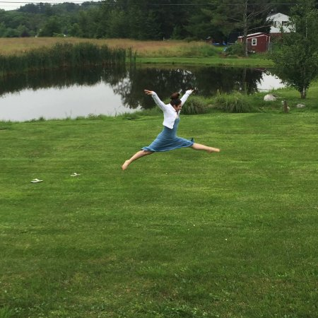 Pine Bush, NY: My niece jumping joyfully on the beautiful grounds
