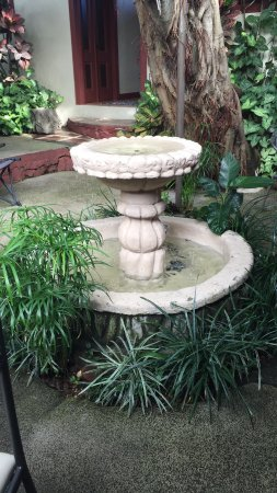 San Lorenzo de Flores, Costa Rica: Outside dining area. Tranquility as water fountain sounds permeate the space!