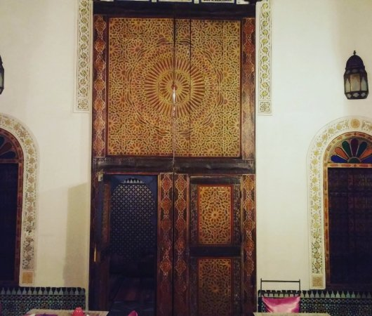 "Dar Attajalli: The ""door"" to the mauve/mosaic suite."