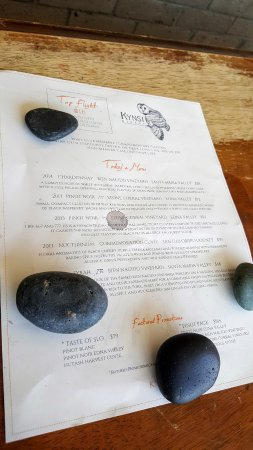 Kynsi Winery: close up of wine menu