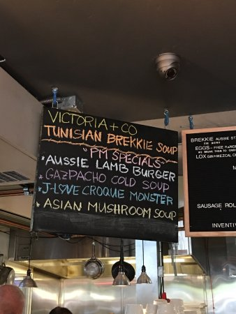 Victoria's Espresso Wine Bar: This menu is only a small part of what you will find to the left of the register!