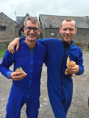 Winscombe, UK: Sandwiches, blue onesies and our very friendly and informative Marcus pre caving. The smiles nev