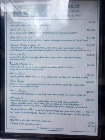 Sassafras, أستراليا: Lunch menu