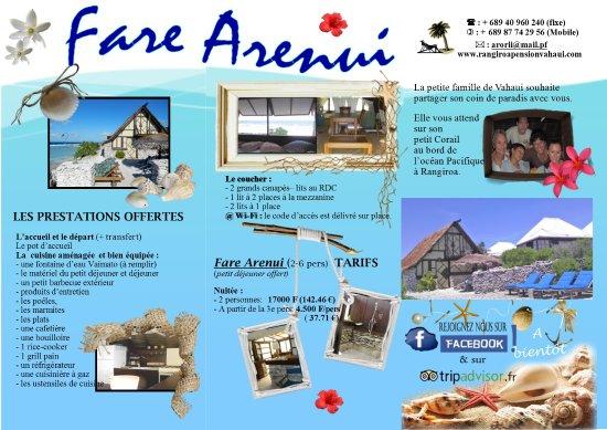 Vahaui Paradis : Brochure du Fare Arenui