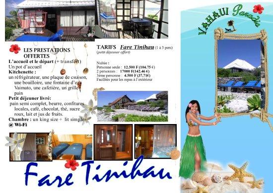 Vahaui Paradis : Brochure du fare Tinihau