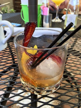 "Cottonwood, AZ: The ""Fashioned for Breakfast"" cocktail. Old Fashioned with bacon and maple syrup. Yummy!"