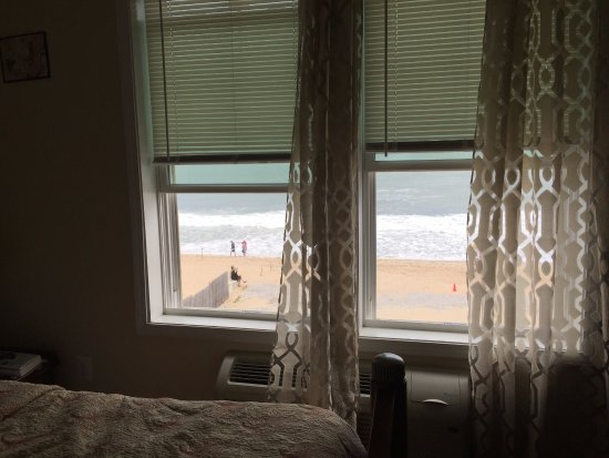Misquamicut, RI: View of the beach from an oceanside room