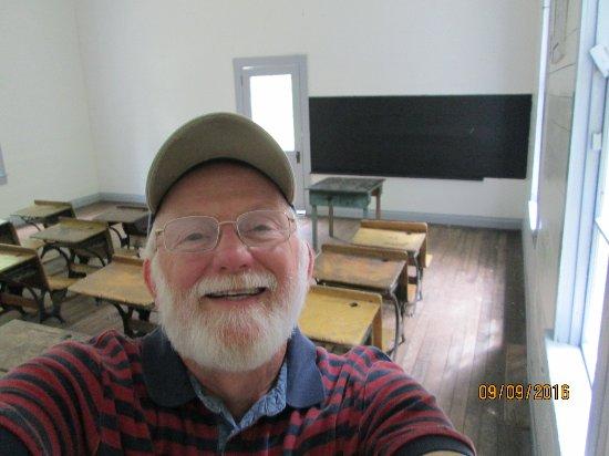 Cosby, TN: Inside Beech Grove school house in Cataloochee Valley.
