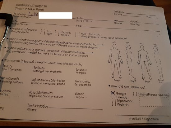 Client Intake Form  Picture Of Perception Blind Massage Bangkok