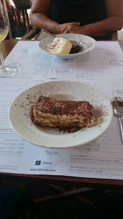 Latorna: Tiramisú y coulant de chocolate con helado de vainilla