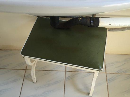 Pamusha Lodge: stool holding up sink drain pipe