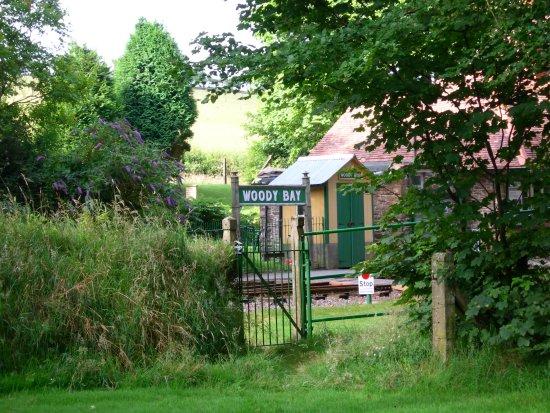 Parracombe, UK: Garden gate opens onto station platform
