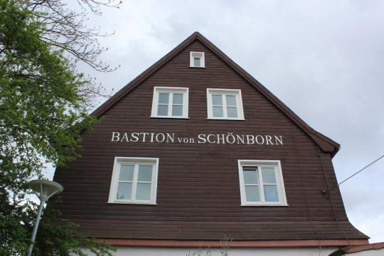Mainz-Kastel, Tyskland: Die Bastion ist ein Restaurant, im 1. OG befindet sich das Flößerzimmer.