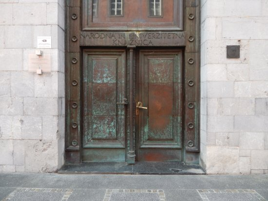 National And University Library: Main Entrance With Nice Door Handles