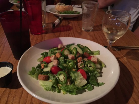 Harrison Roadhouse: Roadhouse Salad, added fresh jalapeños, with a glass of white wine