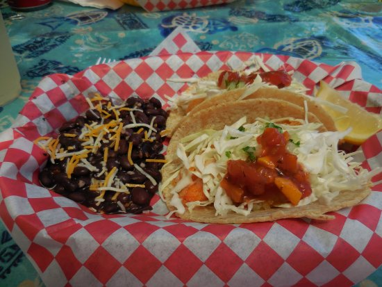 Kapaau, HI: Shrimp taco with black beans.