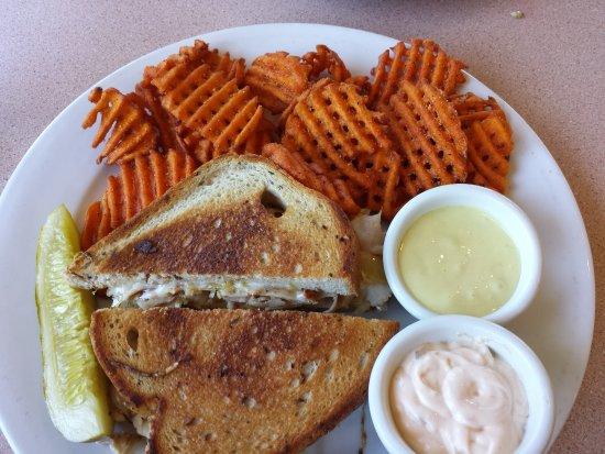 The Sand Bar: Turkey Reuben with Sweet Potato Waffle Fries