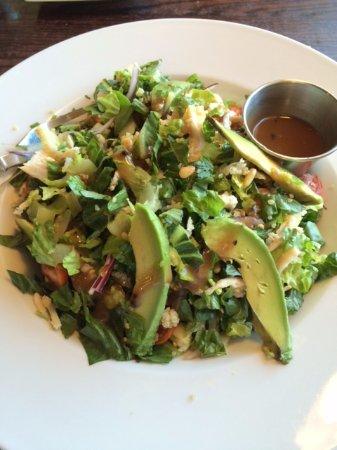 Lone Tree, CO: A very delicious salad with chicken, avocado, tomato, red onion, quinoa & great vinaigrette.
