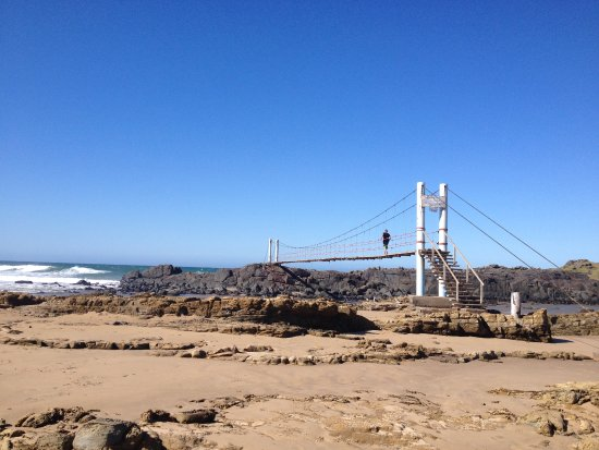 Mazeppa Bay, South Africa: suspension bridge to rocky island