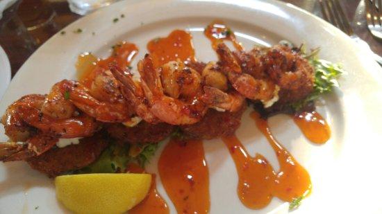 Fried Green Tomatoes w/Grilled Shrimp & a Thai Chili Glaze