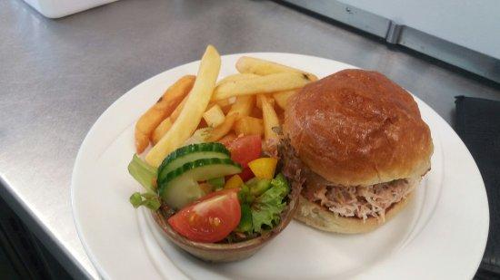 Pierowall, UK: Westray crab sandwich in homemade brioche roll.
