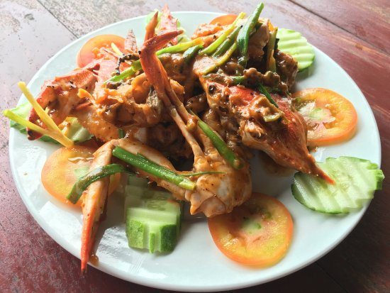 Srey Pov : Superb Fried crab with pepper! Reasonable price.