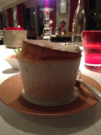 Levernois, Prancis: Grand Marnier Souffle for dessert in the Restaurant Gastronomique