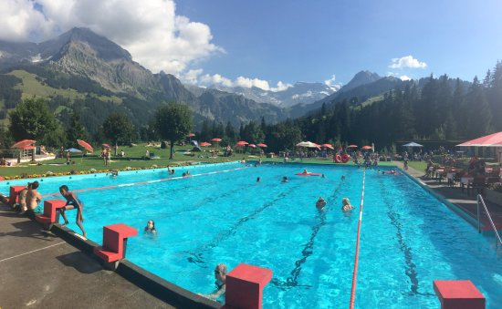 Hotel Steinmattli: Swimming pool with THE most amazing surroundings!