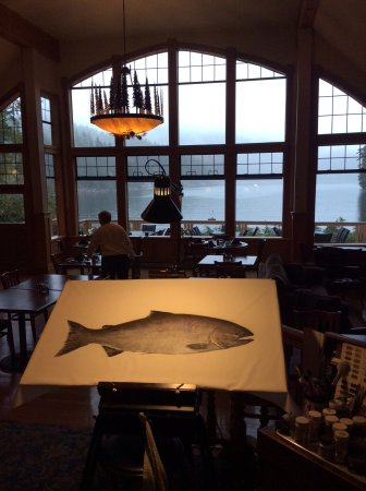 Barkley Sound, Canada: Dining room overlooking the bay where we saw a bear swim across and an eagle fly across.
