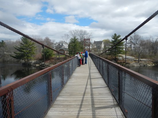 Androscoggin Brunswick-Topsham Riverwalk : Swinging Bridge looking towards Brunswick.
