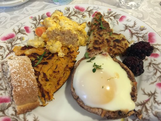 The Carriage House Bed & Breakfast: A small sampling of the breakfast offering including Portobello Benedict