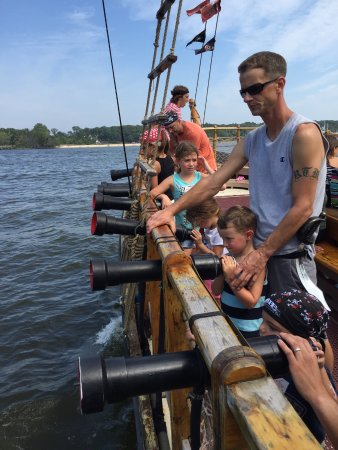 Jersey Shore Pirates: Getting ready to shoot the water cannons