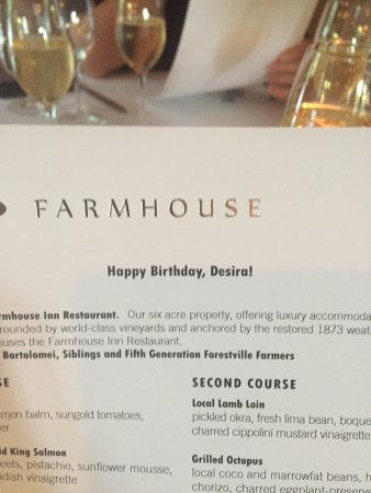 Forestville, CA: Birthday Menu