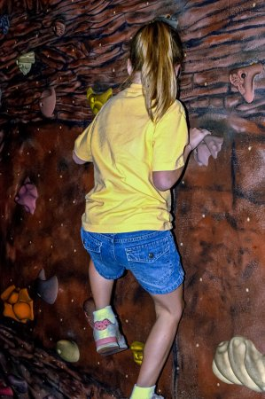 Rochester Museum & Science Center: Rock Wall for Kids to Climb