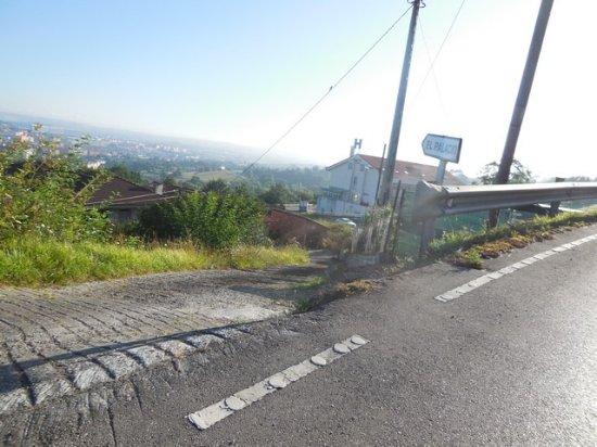 Hotel Palacio de Asturias: La panneau d'accés donnant un mauvais chemin privé en pente dangereuse