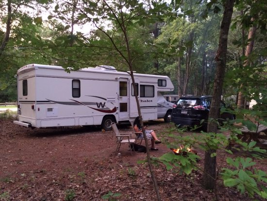 Holly Lake Camp Sites: Motor home parked at site 461
