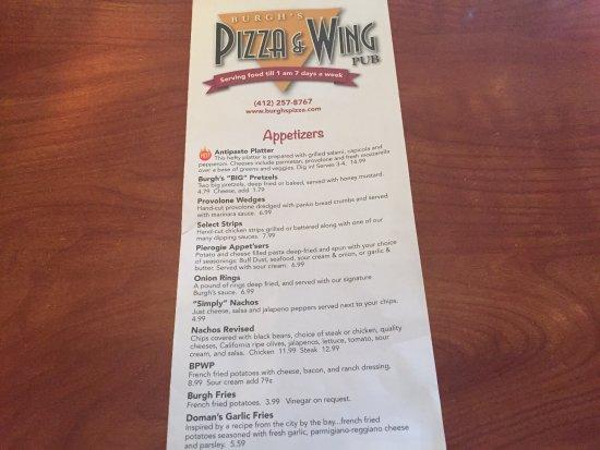 บริดจ์วิลล์, เพนซิลเวเนีย: Burgh's Pizza & Wing Pub