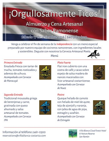 San Ramon, Costa Rica: Almuerzo Cena Sabor Ramonense  sab 17 set