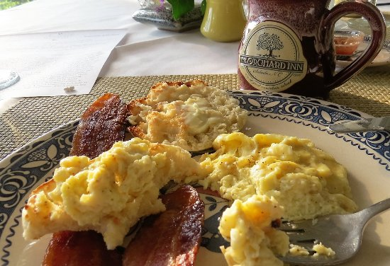 Home made scones, the best scrambled eggs ever, and bacon cooked ...
