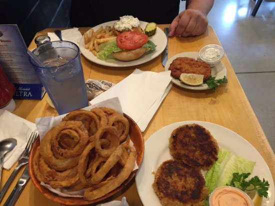 York, ME: Fish sandwich, clam cake, onion rings and crab cakes