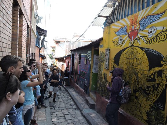 """Bogota Graffiti Tour: In the """"Callejón del Embudo"""", one of the most emblematic and reknown places of Bogotá."""