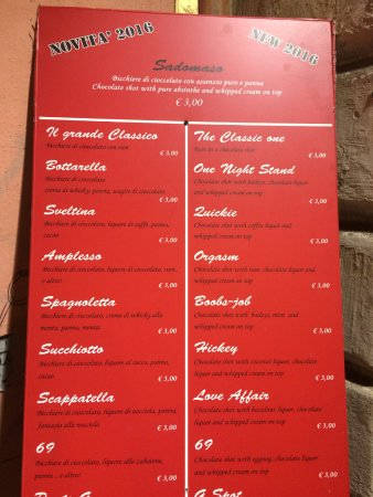 Cioccolata e Vino : Menu choices