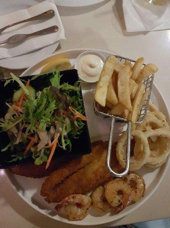 Absolutely beautiful food. Moreton bay bug linguini and barramundi!