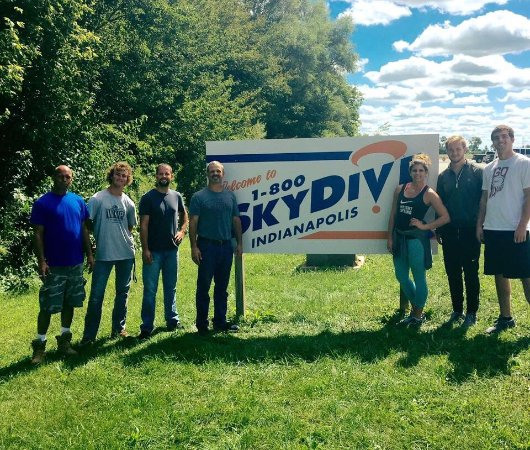 Frankfort, IN: A picture of a group of my family members after our awesome experience at Skydive Indianapolis!