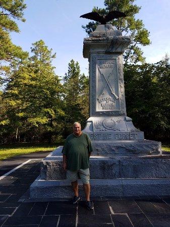 Natural Bridge Battlefield Historic State Park: Bill at monument at Natural Bridge Battlefield Park