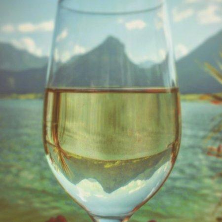 Seevilla Wolfgangsee: Weißwein und See