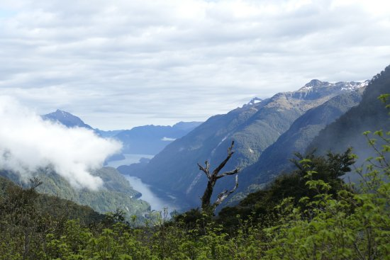 Manapouri, Νέα Ζηλανδία: On the pass, looking down at Doubtful Sound.