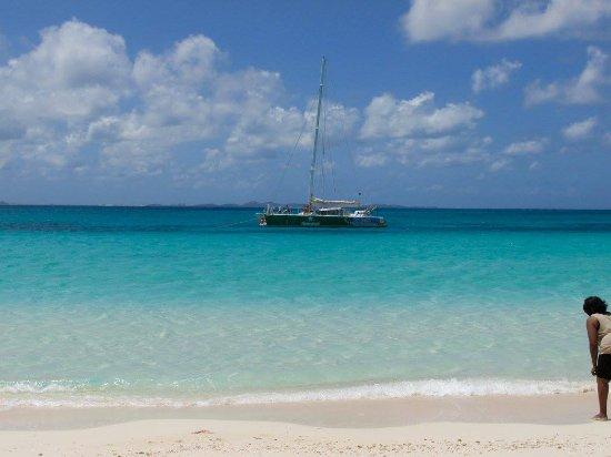 Simpson Bay, St. Maarten/St. Martin: Catamaran view from the beach